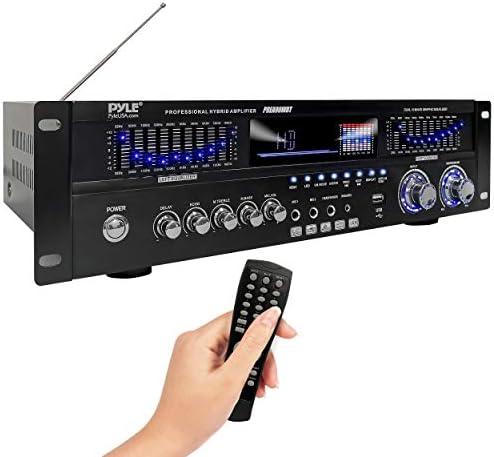 6-Channel Bluetooth Hybrid Dwelling Amplifier – 1600W Dwelling Audio Rack Mount Stereo Energy Amplifier Receiver w/Radio, USB/AUX/RCA/Mic, Optical/Coaxial, AC-3, DVD Inputs, Twin 10 Band EQ – Pyle PREA90WBT