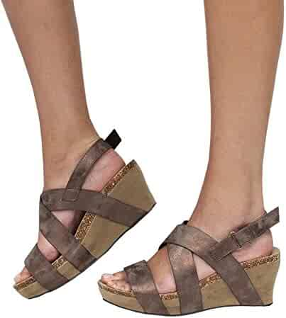 15997b36c645 Misassy Womens Gladiator Platform Wedge Sandals Summer Strappy Ankle Buckle  Shoes