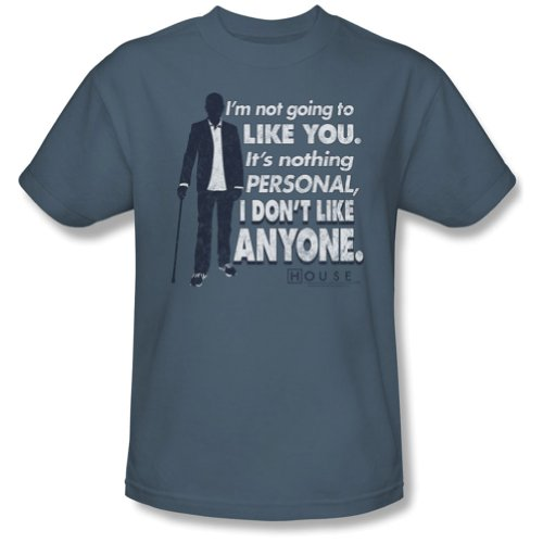 House MD I DON'T LIKE ANYONE Short Sleeve Adult Tee SLATE T-Shirt -Large