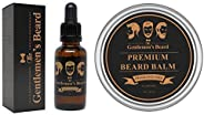 Fragrance Free Beard Oil & Beard Balm Kit - Leave-in Conditioner & Softener - All Natural - Styles, Strengthens, Thickens & S
