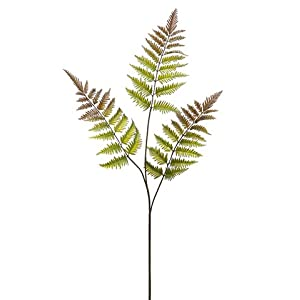 """34"""" Leather Fern Spray x3 Green Brown (pack of 12) 51"""
