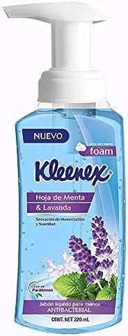 Kleenex Jabón Líquido para Manos en Espuma, Hoja de Menta y Lavanda, 220 ml, empaque puede variar