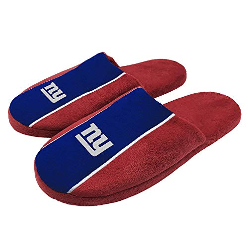 FOCO NFL New York Giants Big Logo Stripe Slipper - Extra Large - Jersey Giants Football Ny