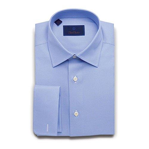 Cotton Weave Birdseye (David Donahue Men's Regular Fit Micro Birdseye French Cuff Dress Shirt, Blue, 17.5