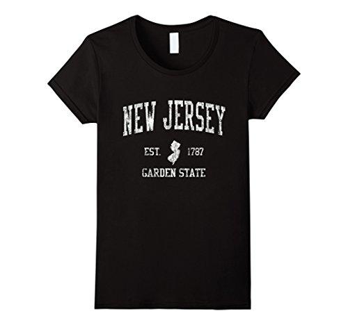 Womens New Jersey T-Shirt Vintage Sports Design NJ Tee XL Black