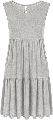 Simlu Heather Grey Sleeveless Summer Dress Loose A Line Swing Mini (Heather Grey Sleeveless)