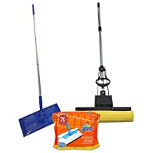 Combo Pack! Floor Dust Mop with 20 Cloth Inserts and the Super Squeeze Absorbent Professional Double Roller Sponge Foam Mop