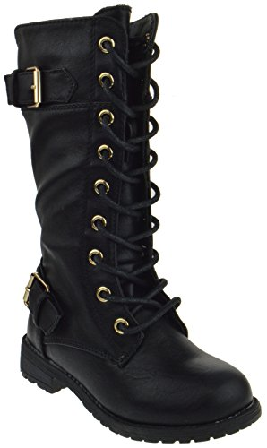 Kids Black Boots (Mango 27K Little Kids Combat Lace Up Boots Black 3)