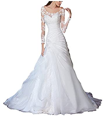 Beauty Bridal Organza Scalloped Sleeves Wedding Dresses for Bride