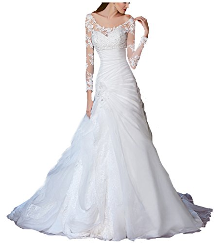 Beauty Bridal Organza Scalloped Long Sleeves Sexy 2015 Gorgeous Wedding Dresses for Bride(2,White)