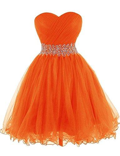 Ritorno Da Casa Tulle Breve Arancione Da Abiti Cdress Sweetheart Perline Di Cristallo Ballo Di Festa A Abiti SUvw1w