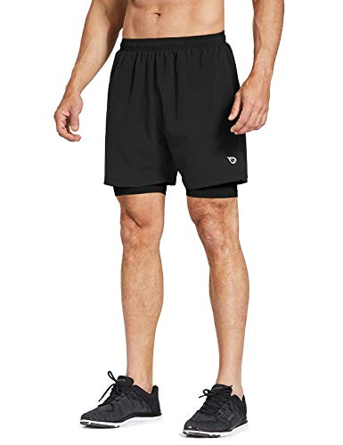 - Baleaf Men's 2-in-1 Running Athletic Shorts Zipper Pocket BlackBlack Size M