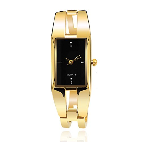 (ChezAbbey Women's Original Elegant Square Dial Quartz Bangle Wrist Watch with Alloy Watch Strap, Black Dial)