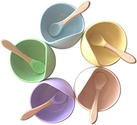 Bol avec une cuill/ère en bois pour nourrir les enfants BLW AMTBABY Bol en silicone avec ventouse et cuill/ère en bambou Aspiration forte antid/érapante et sans BPA