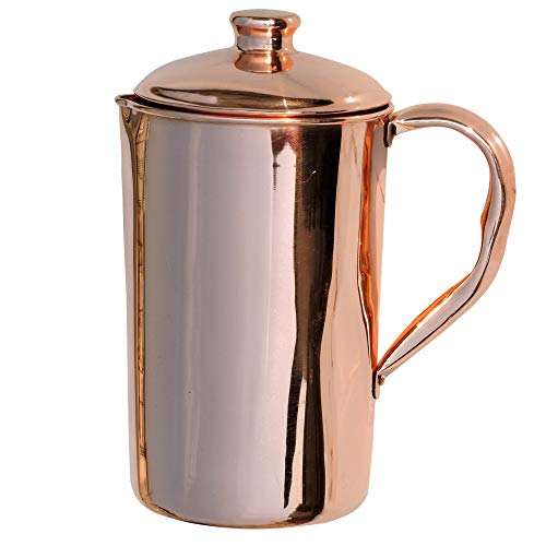 HealthGoodsIn - Pure Copper (99.74%) Water Jug | Copper Pitcher for Ayurveda Health Benefits (50.7 US Fluid Ounce) (Lids Jugs Drinking With)