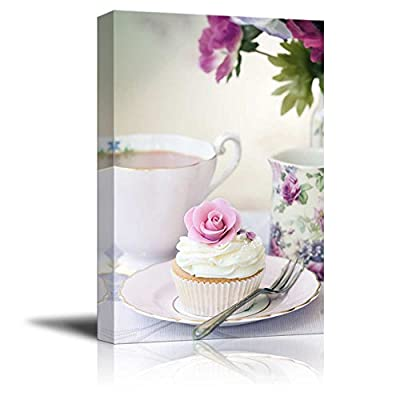Canvas Prints Wall Art - Afternoon Tea with Cake and Rose - 32