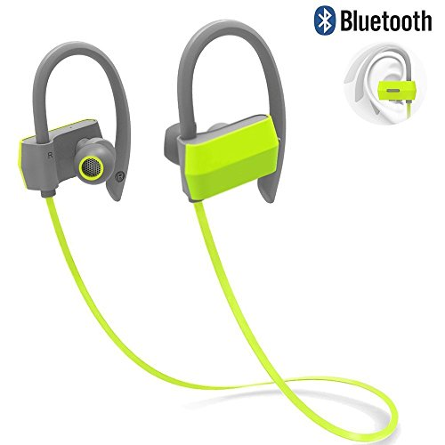 Wireless Running Earbuds,GranVela G18 Sweatproof Sports Earphones for Running,Cycling, Gym,Yoga and Workout-Bright Green