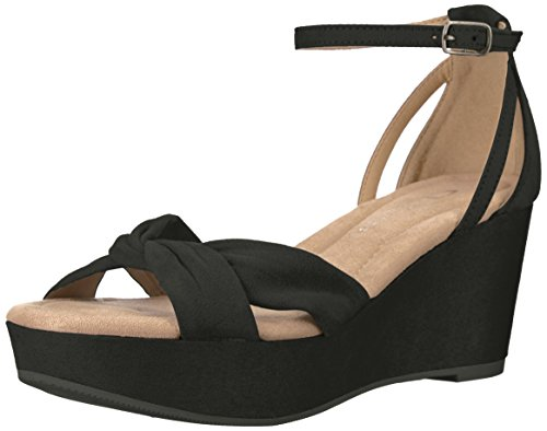 CL by Chinese Laundry Women's Devin Wedge Sandal, Black Suede, 8 M US