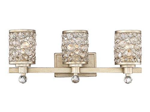 Guilford Collection (Bathroom Vanity 3 Light With Aurora Finish Metal/Glass E Bulb 24 inch 300 Watts)