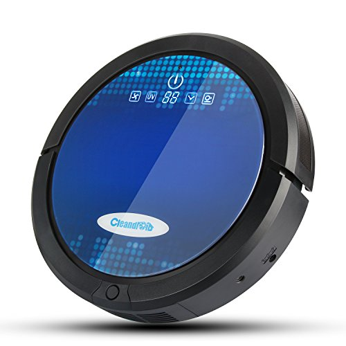 Cleandroid Robotic Vacuum Cleaner, High Suction, Self-Charging Floor Cleaning Robot for Pet Fur and Allergens, with Dry Mop and Visual Wall, Design for Hard Floor and Thin Carpet,Black