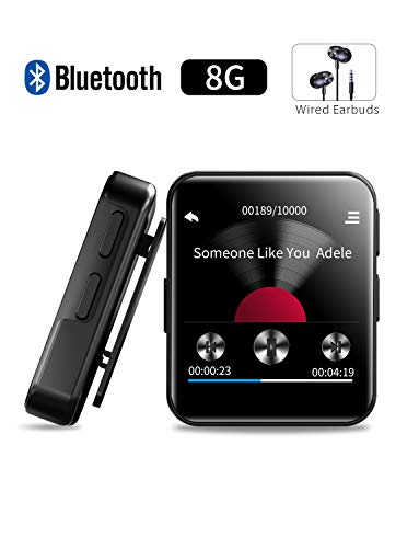 8GB Clip MP3 Player, MP3 Player with Bluetooth, FM Radio,Music Player with Touch Screen, Voice Recorder,Video Play,Wrist Belt,Wired Headphones, Bluetooth MP3 Player for Running Workout