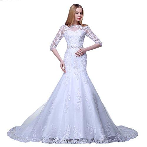 Kleid nbsp;Sleeve Elfenbein Spitze Meerjungfrau Applikation Bateau Blume 2 engerla Damen Hochzeit 1 qvFZw77C