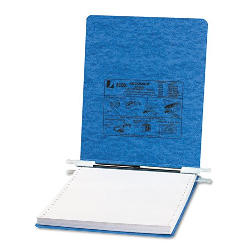 ACCO - Pressboard Hanging Data Binder, 9-1/2 x 11 Unburst Sheets, Light Blue - Sold As 1 Each - Top and bottom loading binder expandable for various sized ()
