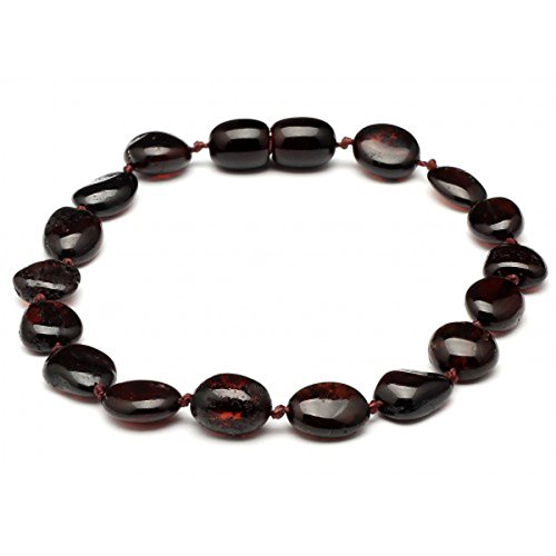 Baltic Amber Adult Knotted Bracelet Unisex ABB148 Polished Cherry 19cm Round Flat Beads By Amber Corner