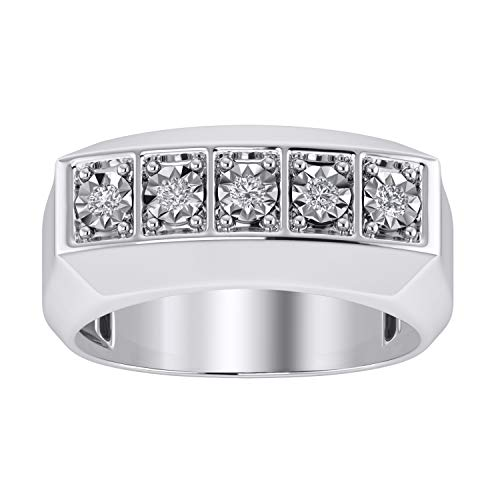 - Trillion Jewels 0.25 CT Round Cut Diamond in 14K White Gold Finish Five Stone Mens Ring (9)