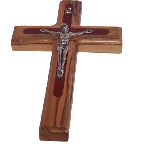 Two tone olive wood Crucifix ( 5.5 inches ) - comes with certificate ()