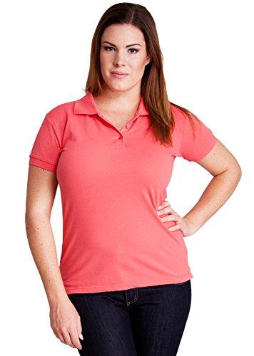 Coral Woman Plus Size 3 Button Short Sleeve Polo Pique Shirt