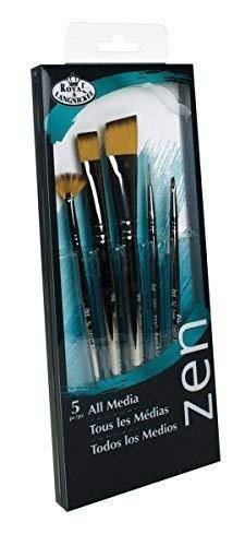 Royal & Langnickel, Zen Series 73 Set of 5 Brushes, Standard Handle, Synthetic Filament, Angulars 1/8 & 1, Shader 16, Script Liner 10/0, Fan 2/0, RZEN-SET738