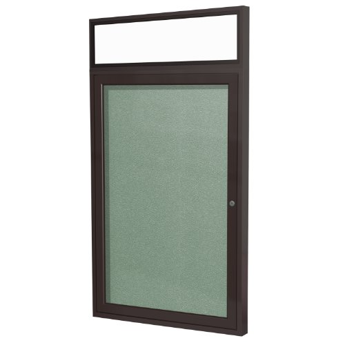 "1 Door Outdoor Enclosed Bulletin Board Surface Color: Mint, Size: 3' H x 2'6"" W, Frame Finish: Bronze hot sale"