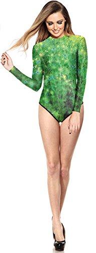 THENICE, Costume da bagno da donna, intero con manica lunga Verde