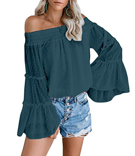 EasySmile Womens Off The Shoulder Tops Summer Blouses Casual Chiffon Bell Sleeve Ruffle Tunic Shirts (Deep Blue, US(19-20) XX Large)