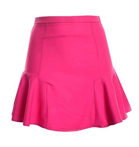 t Femmes Casual Couleur Unie Mini Jupe de Plage Jeune Mode Haute Taille Ajoure Jupes de Fte Cocktail Soire Rose Rouge