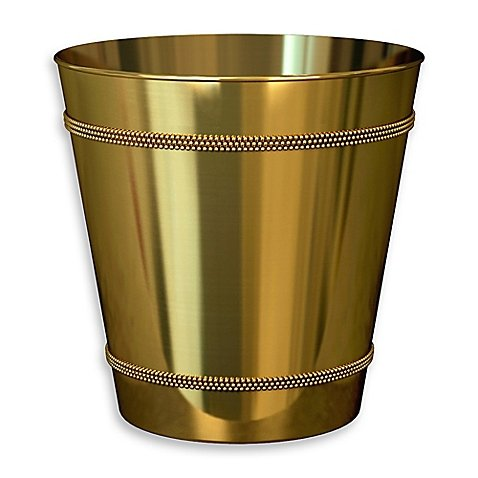 Beaded Metallic Wastebasket in Champagne Gold (1,