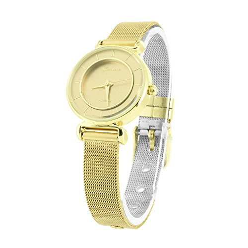 18K Gold Finish Watch Womens Mesh Band Slim Design Jojo Joe Rodeo Look