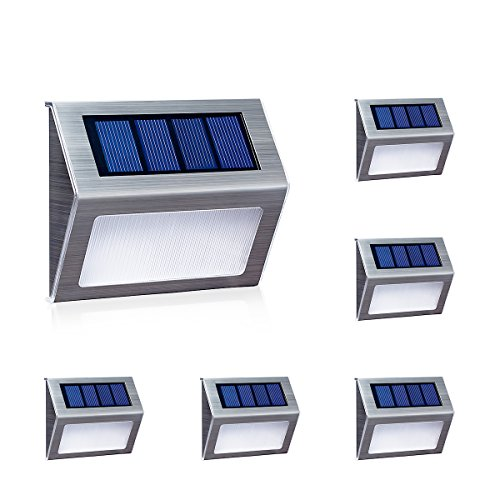 [White Light] Solar Lights for Steps Decks Pathway Yard Stairs Fences, LED lamp, Outdoor Waterproof, 6 Pack