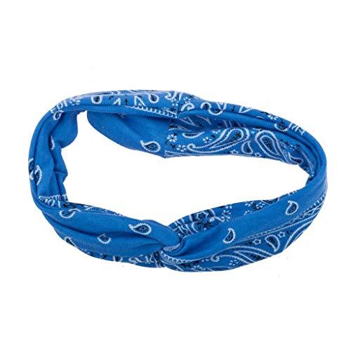 Lux Accessories Light Blue Soft Bandana Print Knot FrontHeadband (Dark Center Bandana)