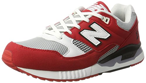 New Balance Men M530pib Fashion Sneaker, White/Grey, 11.5 D US Red (Red)