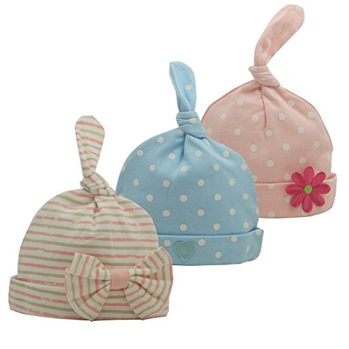 Nihao Baby Hospital Hat for Newborn Infant Toddler Girl Beanie Hat Cap 3 Pack (Pink Blue Stripe, 6-12 Months)