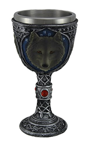 Wolf Head Wine Goblets Ossuary Chalice Resin Body Stainless Steel 9.5