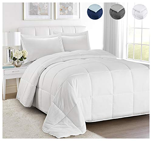 3 Piece All Season Goose Down Alternative Reversible Quilted Comforter Set-Corner Duvet Tabs-Duvet Insert or Stand-Alone-Plush Siliconized Fiberfill(1 Comforter,2 Pillow Cases/Shams)(King&CKing,White) by HUAJIE
