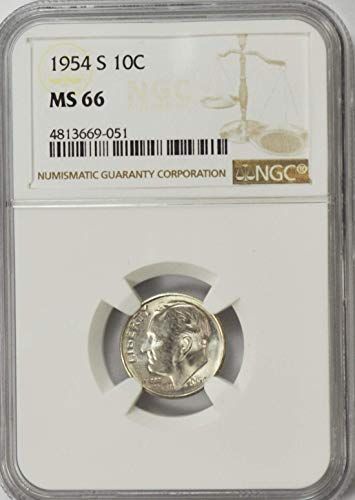 1954 S Roosevelt Dime 90% Silver AZA18 10c MS66 NGC