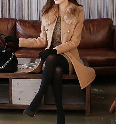 Transizione Coreano Donna E Trench Manica Stile Mezza Con In Tinta Unita Inverno Cerniera Snone Chiusura Doppio Classico Giacca Petto A Autunno Cappotto Marrone Lungo zwxIq