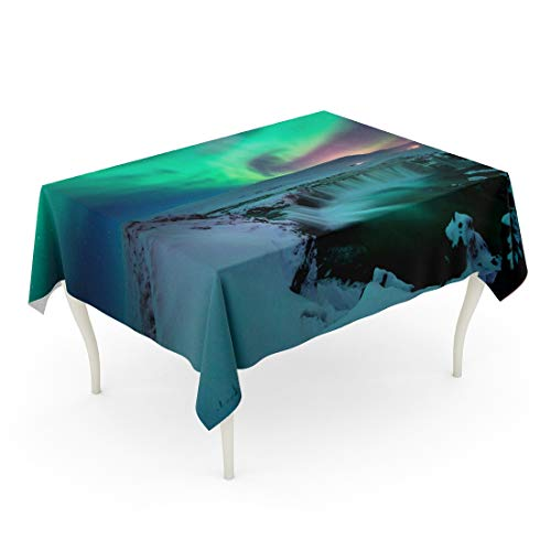 Tarolo Rectangle Tablecloth 60 x 102 Inch Blue Lights Stunning Aurora Shape Like Phoenix Bird Appears Above The Landscape of Godafoss Water Fall in Winter Iceland Colorful Table Cloth