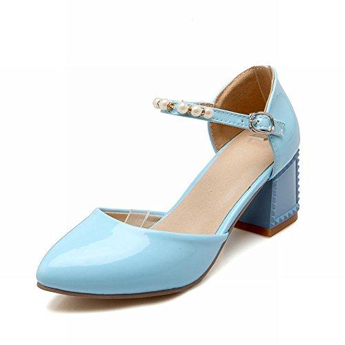 Carol Skor Trendiga Mode Söt Godis Färg Pärlstav Spänne Pekade Tå Chunky Mitten Häl Mary Janes Sandals Blå