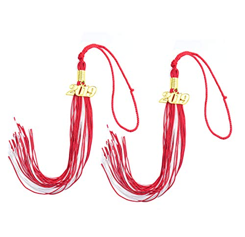 Makhry 2pcs 15.7 inches/41cm Handmade Silk Graduation Honor Tassel with 2019 Year Charm for Graduation Cap,Graduation Gift,Souvenir (2, Red&White) ()