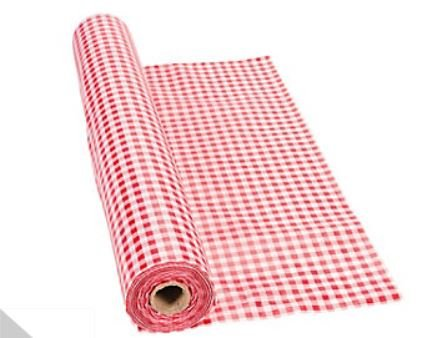 "100' X 40"" Red Gingham Tablecloth Roll - Party Tableware & Table Covers"
